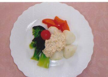 蒸し野菜 豆腐ソースかけ