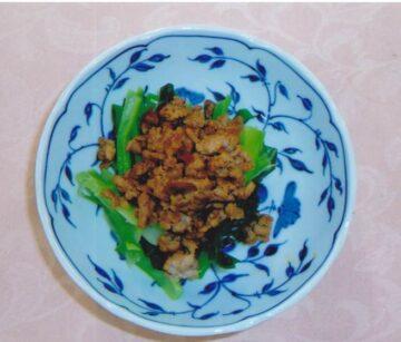 小松菜とひき肉のオイスターソース炒め